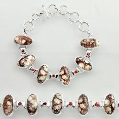 47.99cts natural wild horse magnesite garnet 925 silver tennis bracelet r27421