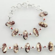 50.69cts natural wild horse magnesite garnet 925 silver tennis bracelet r27422