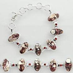 47.56cts natural wild horse magnesite garnet 925 silver tennis bracelet r27425