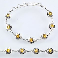 6.29cts natural yellow citrine 925 sterling silver tennis bracelet r54921