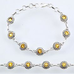 6.16cts natural yellow citrine 925 sterling silver tennis bracelet r54922