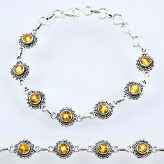 6.29cts natural yellow citrine 925 sterling silver tennis bracelet r54942