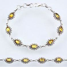 8.90cts natural yellow citrine 925 sterling silver tennis bracelet r54943