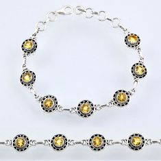 5.93cts natural yellow citrine 925 sterling silver tennis bracelet r54961