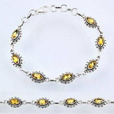 9.23cts natural yellow citrine 925 sterling silver tennis bracelet r54981