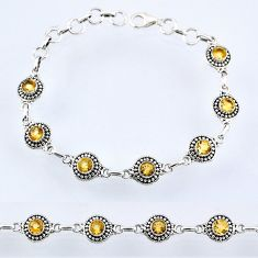 6.29cts natural yellow citrine 925 sterling silver tennis bracelet r54982