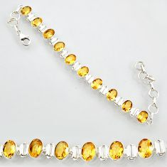 20.22cts natural yellow citrine 925 sterling silver tennis bracelet r87071