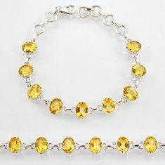 19.52cts natural yellow citrine 925 sterling silver tennis bracelet r87092