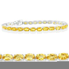 26.94cts natural yellow citrine 925 sterling silver tennis bracelet t12290