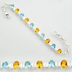 21.04cts natural yellow citrine topaz 925 sterling silver tennis bracelet r87099
