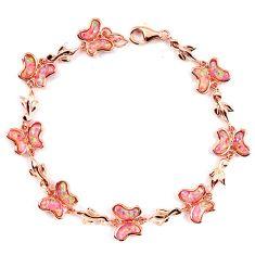 11.09cts pink australian opal (lab) 925 silver 14k gold bracelet a62042 c15493