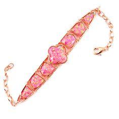 16.53cts pink australian opal (lab) 925 silver 14k gold bracelet a62051 c15467