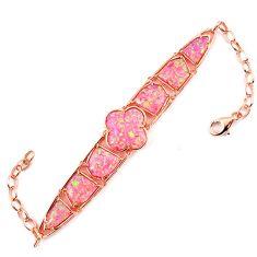 16.34cts pink australian opal (lab) 925 silver 14k gold bracelet a62053 c15478
