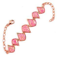 Pink australian opal (lab) 925 silver 14k rose gold bracelet a62009 c15462