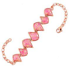 Pink australian opal (lab) 925 sterling silver rose gold bracelet a62008 c15468