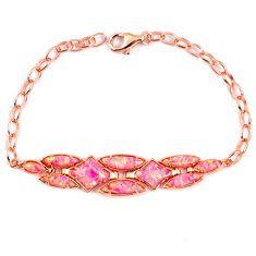 Pink australian opal (lab) sterling silver 14k rose gold bracelet a62002 c24973