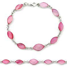 Pink blister pearl enamel 925 sterling silver tennis bracelet a39612 c13897