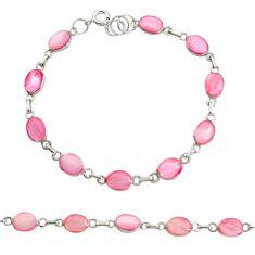 5.25gms pink pearl enamel 925 sterling silver bracelet jewelry c9910