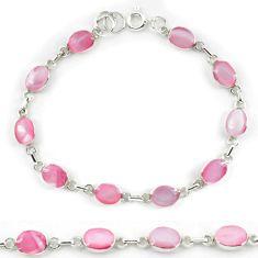 Pink pearl enamel 925 sterling silver tennis bracelet jewelry a56046 c13860