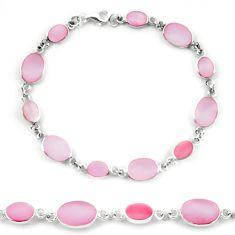 Pink pearl enamel 925 sterling silver tennis bracelet jewelry a56135 c13855
