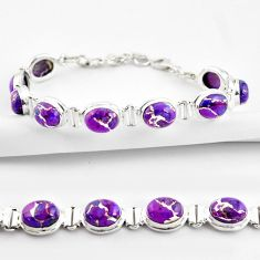 36.26cts purple copper turquoise 925 sterling silver tennis bracelet r38843