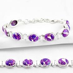 34.91cts purple copper turquoise 925 sterling silver tennis bracelet r38846
