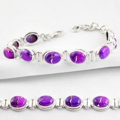 35.83cts purple copper turquoise 925 sterling silver tennis bracelet r38852