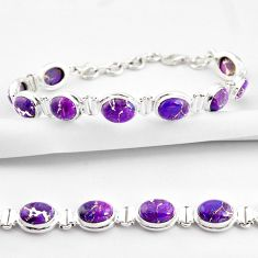 35.38cts purple copper turquoise 925 sterling silver tennis bracelet r38854