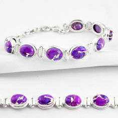 36.67cts purple copper turquoise 925 sterling silver tennis bracelet r38855