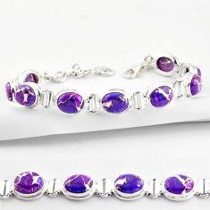 36.63cts purple copper turquoise 925 sterling silver tennis bracelet r38857