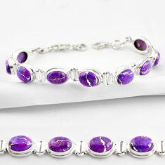 36.26cts purple copper turquoise 925 sterling silver tennis bracelet r38858