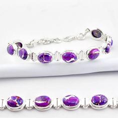 36.26cts purple copper turquoise 925 sterling silver tennis bracelet r38919