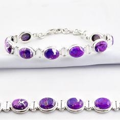 36.96cts purple copper turquoise 925 sterling silver tennis bracelet r38920