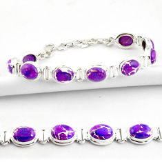 35.38cts purple copper turquoise 925 sterling silver tennis bracelet r39060