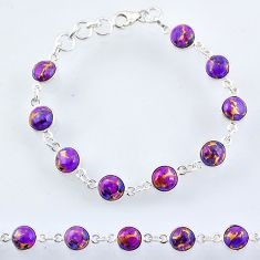 22.04cts purple copper turquoise 925 sterling silver tennis bracelet r55115