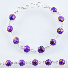 23.13cts purple copper turquoise 925 sterling silver tennis bracelet r55118