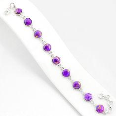 19.99cts purple copper turquoise 925 sterling silver tennis bracelet r84934