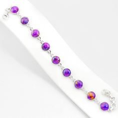 20.51cts purple copper turquoise 925 sterling silver tennis bracelet r84939