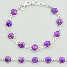 19.70cts purple copper turquoise 925 sterling silver tennis bracelet t19633