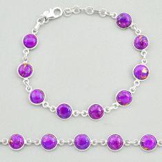 19.23cts purple copper turquoise 925 sterling silver tennis bracelet t19637