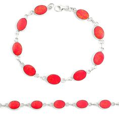 4.02gms red coral enamel 925 sterling silver tennis bracelet a94905 c13863