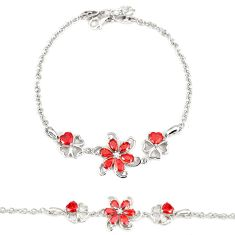 5.61cts red garnet quartz topaz 925 sterling silver bracelet a30041 c24959