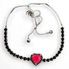 6.27cts red ruby (lab) topaz 925 sterling silver adjustable bracelet c9671