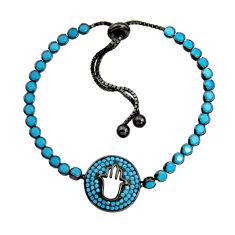 6.61cts rhodium sleeping beauty turquoise 925 silver adjustable bracelet c9913