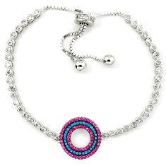 Red ruby quartz green turquoise 925 sterling silver bracelet adjustable c17037