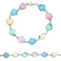 Silver 5.69gms multi color blister pearl enamel tennis bracelet a94915 c13884