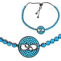 Sleeping beauty turquoise rhodium 925 silver adjustable tennis bracelet c20549