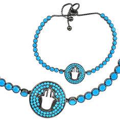 Sleeping beauty turquoise rhodium 925 silver adjustable tennis bracelet c20555