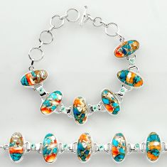 51.05cts spiny oyster arizona turquoise 925 silver tennis bracelet r27431