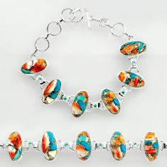 50.71cts spiny oyster arizona turquoise 925 silver tennis bracelet r27433